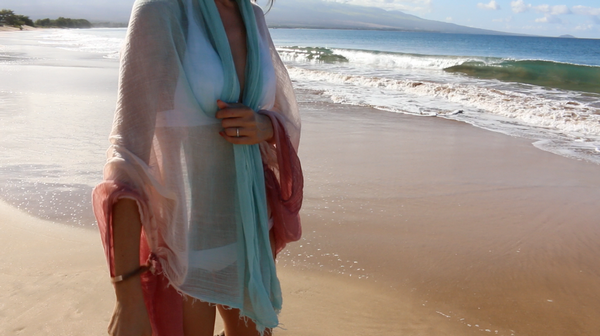 Wearing pareo as a beach accessory